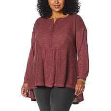 DG2 by Diane Gilman Oversized Mixed Media Henley Top