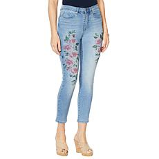 DG2 by Diane Gilman Painted Floral Skinny Ankle Jean    - Basic