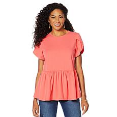 DG2 by Diane Gilman Petal Sleeve Peplum Top