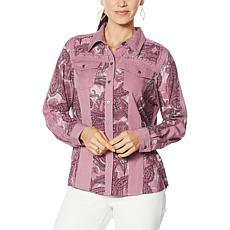 DG2 by Diane Gilman Print/Solid Colorblock Button-Up Blouse
