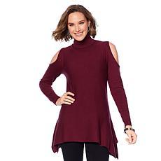 DG2 by Diane Gilman Quad-Blend Cold-Shoulder Turtleneck Sweater