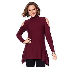 DG2 by Diane Gilman Quad-Blend Cold-Shoulder Turtleneck Sweater
