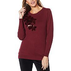 DG2 by Diane Gilman Quad Blend Sequin Floral Sweater