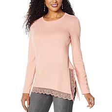 DG2 by Diane Gilman Ribbed Knit Asymmetric Lace-Hem Top