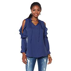 DG2 by Diane Gilman Ruffle Cold-Shoulder Top