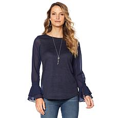 DG2 by Diane Gilman Ruffle-Sleeve Mixed-Media Top