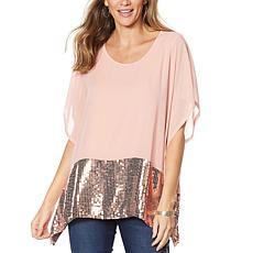 DG2 by Diane Gilman Sequin Chiffon Poncho Top