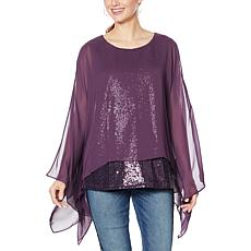 DG2 by Diane Gilman Sequin Chiffon Tiered Poncho Top