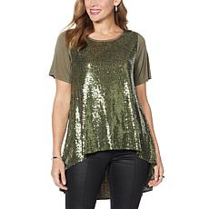 DG2 by Diane Gilman Sequin Hi-Low Drama Top