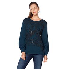 DG2 by Diane Gilman Sequin Tiger-Print Sweatshirt