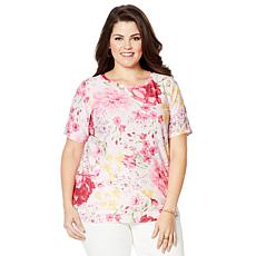 DG2 by Diane Gilman Short-Sleeve Floral-Print Top