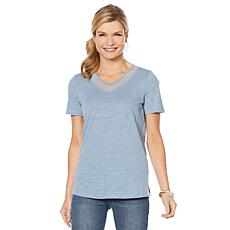 DG2 by Diane Gilman Short-Sleeve Mesh V-Neck Tee