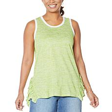 DG2 by Diane Gilman Side Ruffle Striped Tank