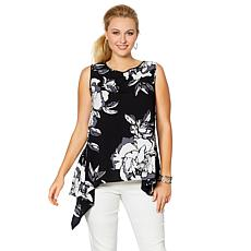 DG2 by Diane Gilman Sleeveless Floral Asymmetric Top
