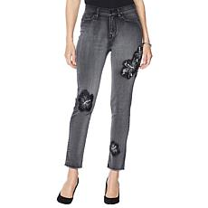 DG2 by Diané Gilman Sorbet Wash Floral Applique Ankle Jean - Basic