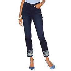 DG2 by Diane Gilman Straight Cropped Jean with Embroidered Hem - Basic