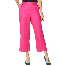 DG2 by Diane Gilman Stretch Linen-Blend Crop Pant