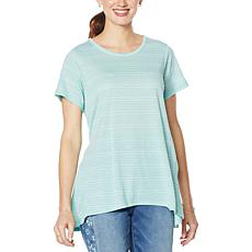 DG2 by Diane Gilman Striped Jacquard Jersey Knit Swing Tee