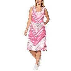 DG2 by Diane Gilman Striped Knit Tank Midi Dress