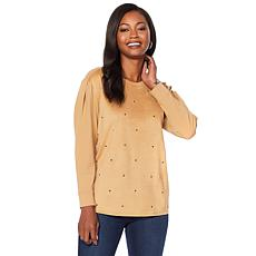 DG2 by Diane Gilman Studded Faux Suede Mixed Media Top