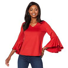 DG2 by Diane Gilman V-Neck Top with Hi-Low Bell Sleeves