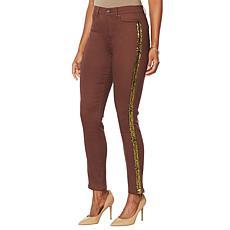 DG2 by Diane Gilman Virtual Stretch Animal Sequin Stripe Jean -Fashion