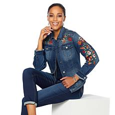 DG2 by Diane Gilman Virtual Stretch Embroidered Denim Jacket