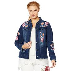 DG2 by Diane Gilman Virtual Stretch Floral Raw-Hem Denim Jacket