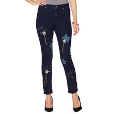 DG2 by Diane Gilman Virtual Stretch Jeweled Star Jean