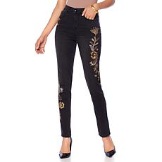 DG2 by Diane Gilman Virtual Stretch Metallic Embroidered Jean - Gold