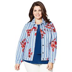 DG2 by Diane Gilman Virtual Stretch Printed Denim Jacket