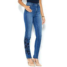 DG2 by Diane Gilman Virtual Stretch Rose Embroidered Skinny - Basic