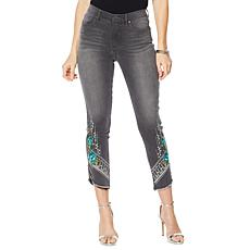 DG2 Curved Hem Studded Floral and Floral Jean