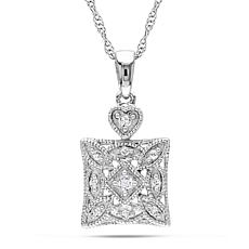 Diamond 10K White Gold Scroll-Design Square Pendant