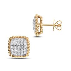 Diamond Couture 14K Gold 1ctw Diamond Square Cluster Stud Earrings