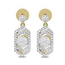 "Diamond Couture 14K Yellow Gold 0.4ctw Diamond ""Art Deco"" Earrings"