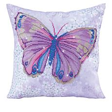 Diamond Dotz Diamond Embroidery Pillow Facet Art Kit - Mauve Flutter