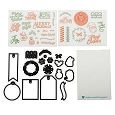 Diamond Press Christmas Wishes Gift Tag Stamp & Die Set