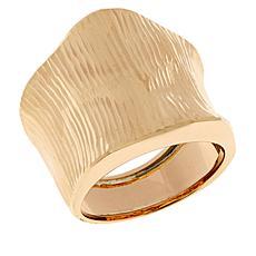 Dieci 10K Gold Bold Diamond-Cut Angled Band Ring