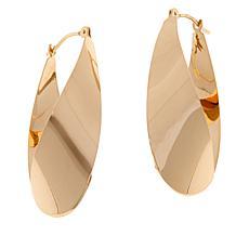 Dieci 10K Gold Tapered Torqued Hoop Earrings