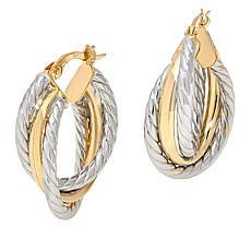 Dieci 10K Gold Textured Hoop Earrings