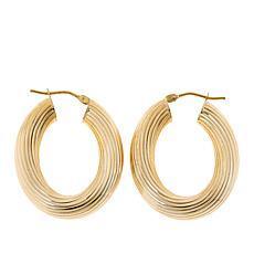 Dieci 10K Yellow Gold Electroform Striped Oval Hoop Earrings