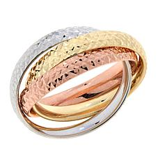 "Dieci ""Fedine"" 10K Gold Tri-Color Interlocked Ring"