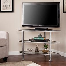 Dina Metal/Glass Corner TV Stand - Distressed Silver
