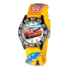 Disney Cars Kid's Black Time Teacher Watch w/ Yellow 3-D Plastic Strap