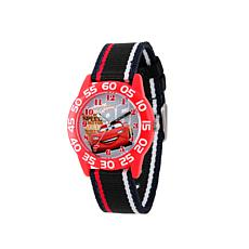 Disney Cars Kid's Red Bezel Black Stripe Strap Time-Teacher Watch