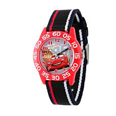 Disney Cars Kid's Red Plastic Time Teacher Watch w/ Black Nylon Strap