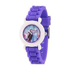 Disney Frozen 2 Characters Kids' White Time Teacher Purple Strap Watch