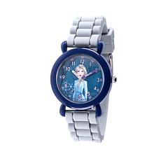 Disney Frozen 2 Elsa Kids' Blue Time Teacher Gray Strap Watch