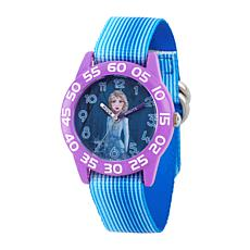Disney Frozen 2 Elsa Kids' Purple Watch with Blue Stripe Strap